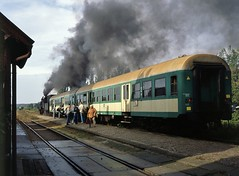 'Awaiting the Off'  |  Rakoniewice, PKP  |  2006 by keithwilde152 - A sustainable showing board or alight from the normal 2-carriage loaded 08.58 Poznan Gl-Wolsztyn passenger calling at Rakoniewice with Ol49 111. 2nd October 2006