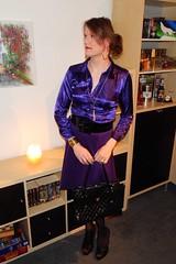 Happy Valentines Day! <3 (Rikky_Satin) Tags: satin silk blouse pencil skirt pumps highheels shiny purple gold crossdresser transvestite tranny transgender sissy secretary office m2f feminine enfemme