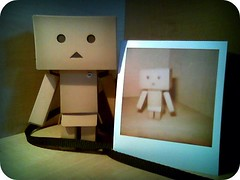Danbo's Polaroid picture.. (willycoolpics.) Tags: camera polaroid robot photo flickr shot bad picture pic cardboard instant plus capture instantcamera picnik onestep danbo 600film danboard