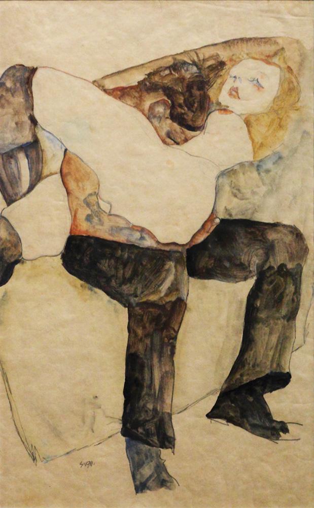 Egon Schiele, Mann, Frau auf den Knien haltend [Man, Holding Woman on his Knees], 1911