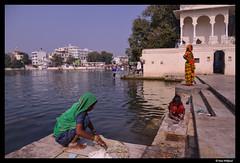 Morning washing in Udaipur (Dan Wiklund) Tags: city morning woman india lake water women washing rajasthan udaipur d800 2013 picholalake usban lpwashing