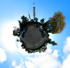 la maddalena in a nutshell (xNstAbLe) Tags: auto autumn trees italy cars torino parking maddalena turin antennas stereographic hugin colle enblend golddragon aplusphoto colledellamaddalena quasiautunno