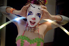 ok. fine. send in MORE f*cking clowns (Lobster Rocket) Tags: party girl face hoop stars paint clown burningman decompression queensmuseumofart onlyyourbestshots decom07 decompression07 nydecom glowhoop