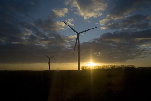 J'aime les bras démesurés des éoliennes dans le petit matin...