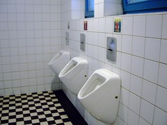 Contemplation station (trepelu) Tags: pee tile bathroom pub satire cartoon toilet toilette klo caricature pelikan pissing peeing karikatur gasthaus pinkeln bamberggermany mensurinals manfreddeix sandstr