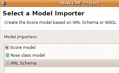 Select the XML model importer from the New Project Wizard