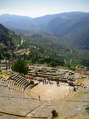 Delphi (MarcelGermain) Tags: old travel blue sky mountains green history archaeology beauty stone landscape geotagged temple grey oracle ancient nikon ruins europe theater view theatre gray delphi landmark greece apollo sanctuary parnassus delfos archaeologicalsite omphalos  grcia delphoi  d80 marcelgermain