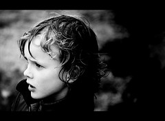 Hvar II (gunnisal) Tags: family boy portrait people bw face rain weather iceland eyes child faces candid young icelandic olympuse500 bwdreams hvar