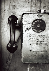 Tbilisi Payphone (chirgy) Tags: bw 35mm georgia fuji telephone scan trips neopan analogue tbilisi bwdreams cn400   wallfurniture pentaxespio120mi