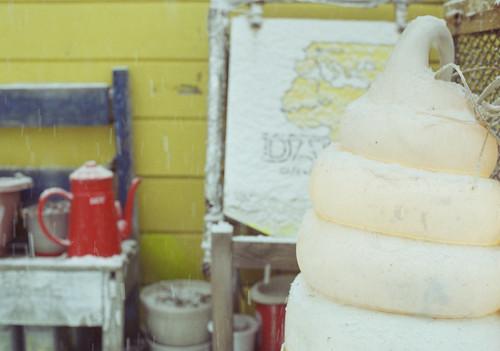 雪とソフトクリーム