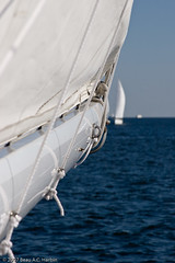 Two white sailboats on the Chesapeake Bay (BACHarbin) Tags: usa white water sailboat boats bay md waves sailing personal boom photoblog boating sail ropes annapolis sailboats watercraft chesapeakebay yachting pending needskeywording woodwindcruise submittedtophotoshelter