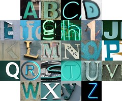 Bluey-greeny letters