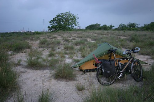 Wild camping in Mosquito Hell just west of Surfside Beach, Texas.