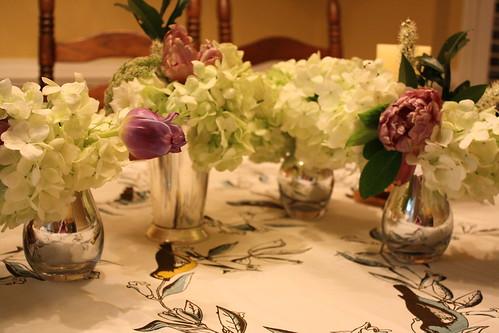 Hydrangeas in bud vases