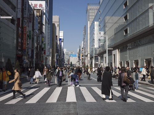 Ginza Chuo Dori on a Sunday afternoon