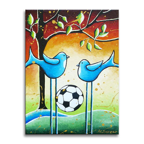 """Soccer Players"" Original Whimsical Kids Wall Art"