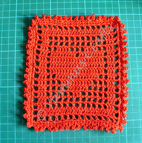 Red filet crochet square by Yammas Cards and Crafts