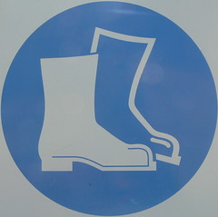 work boots must be worn (Foot Slogger) Tags: blue white sign clothes almostsquaredcircle
