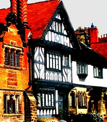 houses at thornton hough - wirral - england (~ paddypix ~) Tags: red colour photoshop buildings picasa oldcity doorsandwindows specialeffects fragments moodyblues ukandireland madalenaandherflag