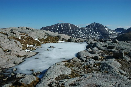 Frozen pools, Sgurr Ban and Mullach Coire Mhic Fhearchair