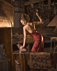 Mistress of the Forge II (carlos.benjamin) Tags: red arizona portrait usa phoenix girl hammer backlight canon model flickrbadge dress az carlos jerome benjamin manual blacksmith forge elegant eveninggown anvil keepout 30d cto queencreek goldkingmine splendiferous sunpak383 pocketwizard strobist leefilters benjphoto ysplix carlosbenjamin top20femmes aprilknapp benjphotocom azstrobistjerome