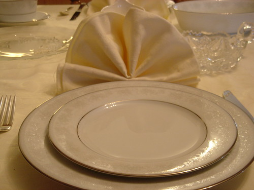 Dinner napkin folded at place