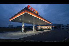 The Gas Station in the Middle of Nowhere (Prozac74) Tags: dark dawn interestingness moody widescreen interestingness1 wideangle fv5 gasstation explore porsche fv10 coop kaiseraugst canonefs1022mmf3545usm canoneos30d dsmkubus tpsarchitecture