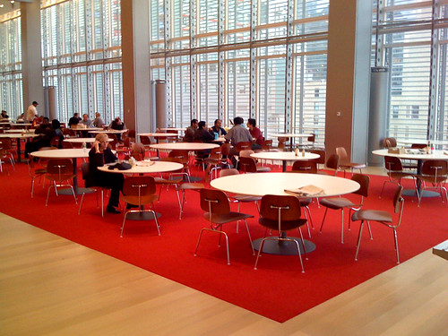 New York Times Cafeteria. Look at all that open space. I bet they have awesome food fights. / Amit Gupta