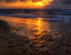 Evening Rhapsody (NatashaP) Tags: sunset sea reflection beach night evening israel twilight sand nik