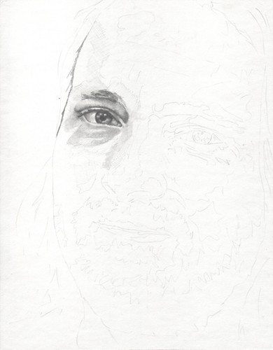 In-progress scan of graphite portrait entitled KSmith