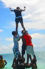 human pyramid (fayaaz) Tags: boy sea sky people male girl beautiful clouds fun photo nice team group picture fanny human sealand maldive grat tshart seasport sper photofayaaz fayaazphoto