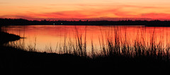 Lake of Fire (Erik Holmberg) Tags: sunset sun lake reed set river reeds boats fire boat landing lakeoffire boatdropin