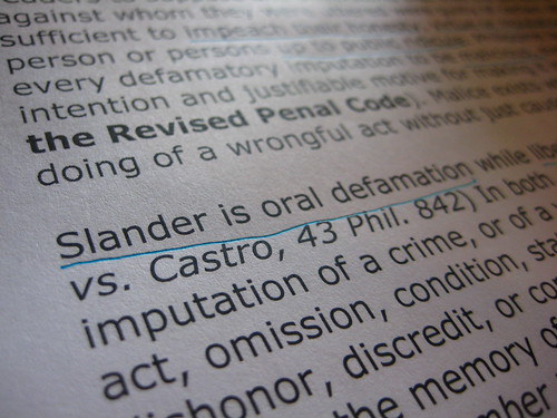 Slander is oral defamation