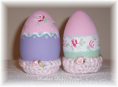Hand Painted Wooden Easter Eggs (Southern Lady's Vintage) Tags: pink cottage handpainted cottagestyle homedecor holidaydecor eastereggs shabby paintedeggs decoratedeggs easterdecor cottagechic woodenegg handpaintedeggs crochetcozy hproses shabbyeaster shabbyeggs