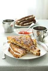 mascarpone stuffed panetone french toast (mwhammer) Tags: morning red color texture breakfast silver bread dessert design italian sweet treats sunny monochromatic delicious frenchtoast preserves creamy panetone mascarpone luxurious fortwo caramelized internationalfood foodstyling melinahammer