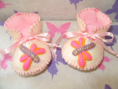 cream and pink baby booties with wonderful dragonfly motifs (Funky Shapes) Tags: baby shower shoes unique oneofakind funky zapatos gift kawaii bebe accessories slippers booties