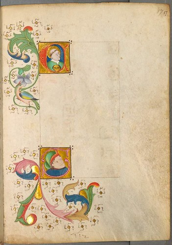 lettrines and foliage in partially completed manuscript page