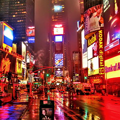 Wet New York (Mike G. K.) Tags: road street red newyork reflection wet rain fog night contrast truck reflections lights yahoo garbage neon kodak cab taxi smoke yellowcab virgin rainy timessquare saturation bankofamerica jpg bud raining jpeg budweiser bigapple hdr issam photomatix 1exp singlejpghdr