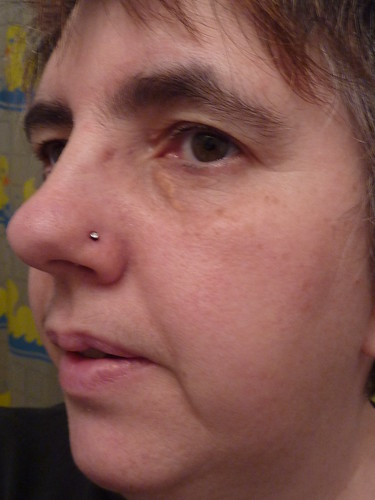 nose piercings healing. Nose piercing gets infected