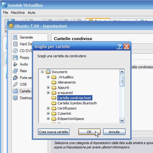 Fig. 5 - Cartelle condivise guest Linux - scelta cartella