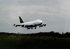 747 at Knock Airport (RuthannOC) Tags: 2003 b ireland tower june atc fly flying airport traffic control 1st air flight event international mayo boeing rare overhead 747 flyover knock charter nok ruthann controllers viewers planespotters eikn gbdxg 747236b