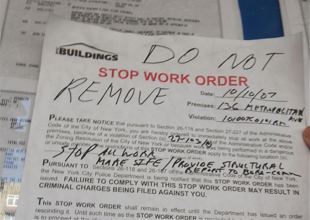 136 metropolitan stop work order