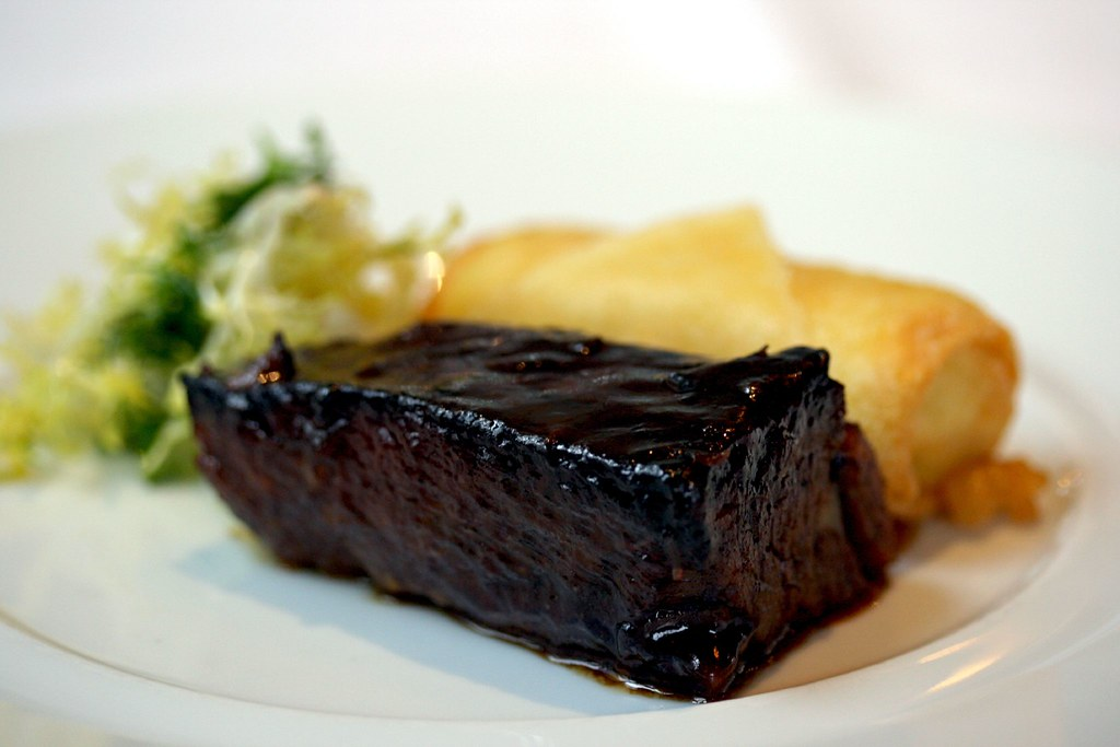 Tangy Glazed Short Ribs, Crunchy Grits and Herb Salad