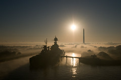 "Ship Portrait - ""USS Texas"" at San Jacinto Park in Fog (OneEighteen) Tags: monument sunshine fog port harbor marine ship houston maritime obelisk battleship nautical pilot sanjacinto dreadnought usstexas 1000v40f 3000v120f top20texas bestoftexas"