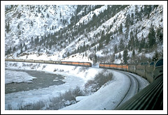 California Zephyrs passing in the canyon - 1968 (sjb4photos) Tags: geotagged colorado coloradoriver californiazephyr glenwoodcanyon drgw epsonv500 alltypesoftransport