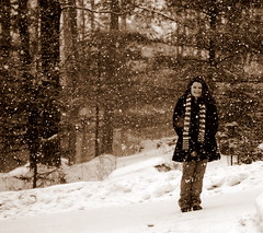 Hello Self (Emmy Gee) Tags: winter portrait selfportrait snow cold sepia self emily coat snowday
