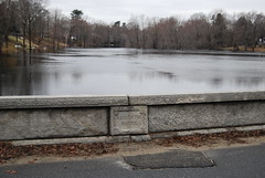 Sudbury River Flooding (bawoodvine) Tags: trees winter signs massachusetts bridges concord floods streamsandrivers