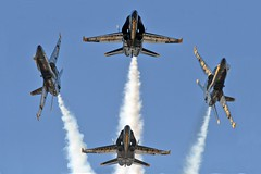 The 2008 Blue Angels (mvonraesfeld) Tags: blue sky plane airplane flying team break aircraft aviation military smoke flight navy jet diamond airshow demonstration hornet sacramento boeing f18 2008 blueangels usn teamwork mcdonnelldouglas aeronautical a mywinners aplusphoto platinumheartaward