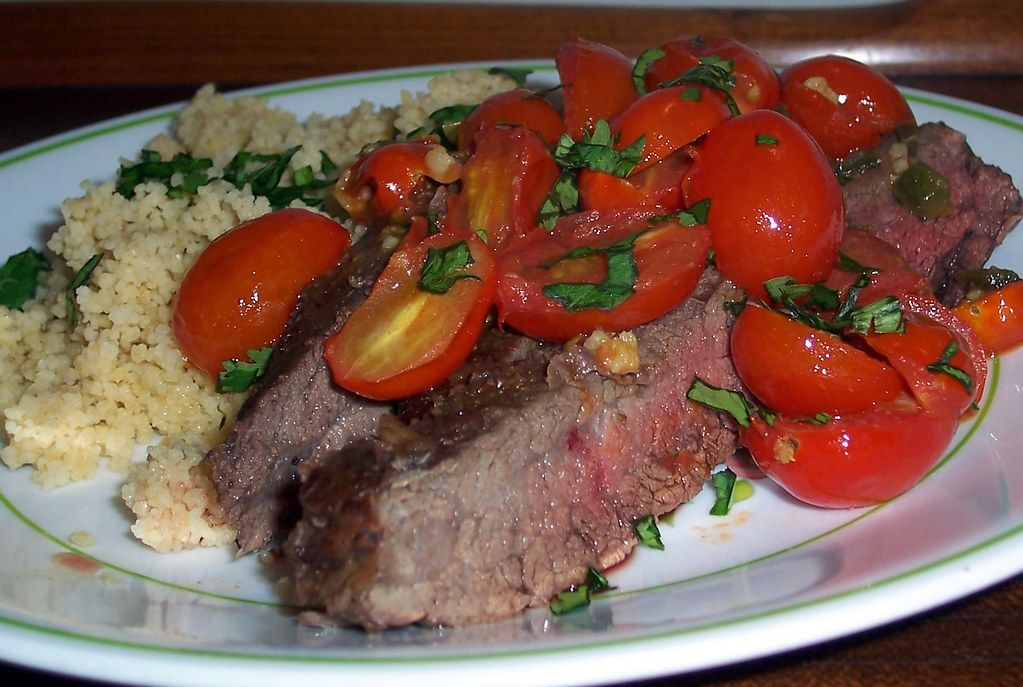 Flank Steak with tomatoes