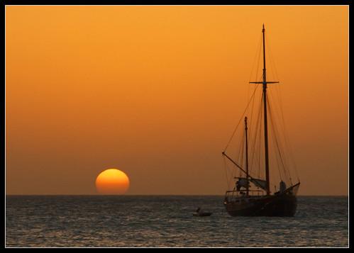 Aruba sunset sailboat